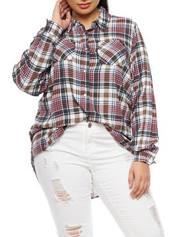 Plus Size Plaid Button Front Top - 3803051069692
