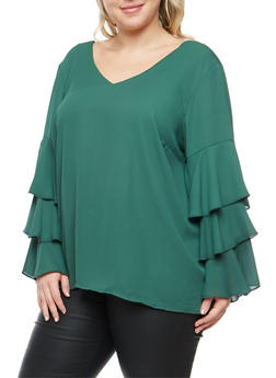 Plus Size Tiered Bell Sleeve Cross Back Blouse - 3803051069702