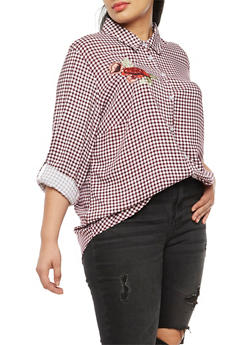 Plus Size Gingham Embroidered Button Front Top - 3803051069704