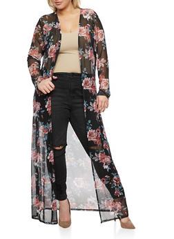 Plus Size Floral Print Mesh Duster - 3803054262181
