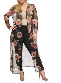 Plus Size Floral Print Mesh Kimono - 3803054262182
