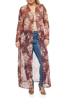 Plus Size Floral Mesh Duster - 3803054262183