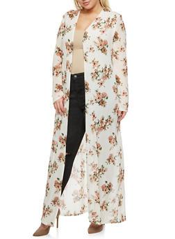Plus Size Mesh Floral Long Duster - SAGE/BLUSH #31 - 3803054265218
