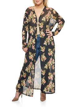 Plus Size Mesh Floral Long Duster - 3803054265218
