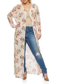 Plus Size Mesh Floral Long Duster - BLUSH/SAGE  #31 - 3803054265218