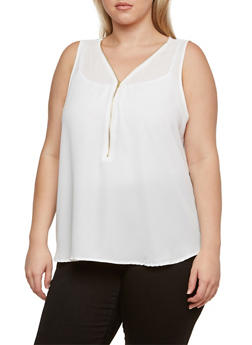 Plus Size Semi-Sheer Sleeveless Chiffon Top with Zipper V-Neck - 3803054267865