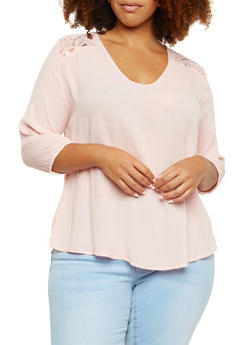 Plus Size Textural Top with Lace Paneling - 3803054268172
