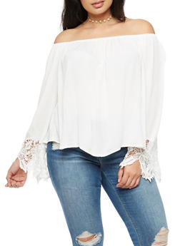 Plus Size Off the Shoulder Crochet Sleeve Top - IVORY - 3803054268501
