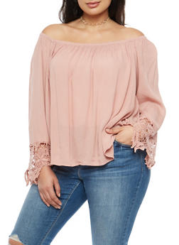 Plus Size Off the Shoulder Crochet Sleeve Top - 3803054268501