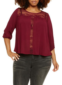 Plus Size Textural Top with Crochet Paneling - 3803054268649