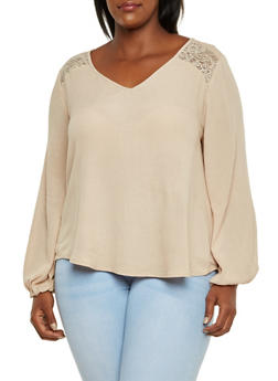 Plus Size Peasant Top with Lace Panels and Back Slit - 3803054268690