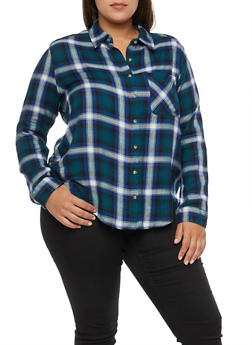 Plus Size Plaid Button Front Shirt - 3803054268836