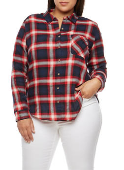 Plus Size Plaid Button Front Shirt - NAVY/RED - 3803054268836