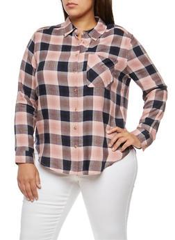 Plus Size Plaid Button Front Shirt - MAUVE/NAVY - 3803054268836