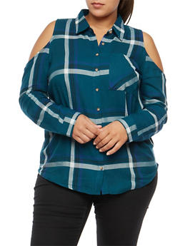 Plus Size Plaid Cold Shoulder Button Front Shirt - 3803054269672