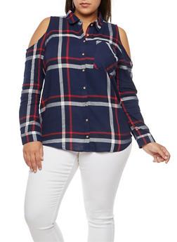 Plus Size Plaid Cold Shoulder Button Front Shirt - NAVY/RED - 3803054269672