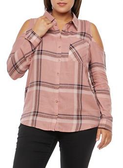 Plus Size Plaid Cold Shoulder Button Front Shirt - MAUVE/MAUVE - 3803054269672