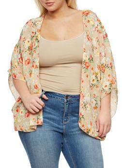 Plus Size Crepe Knit Floral Kimono - STONE/ORANGE - 3803054269812