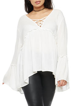 Plus Size High Low Babydoll Top - 3803054269825