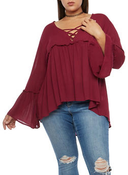 Plus Size High Low Baby Doll Top - 3803054269825