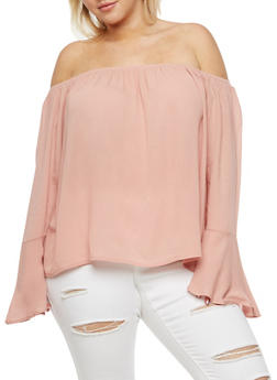 Plus Size Bell Sleeves Off the Shoulder Top - MAUVE - 3803054269827