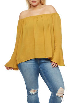 Plus Size Bell Sleeves Off the Shoulder Top - 3803054269827