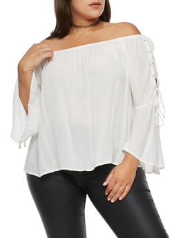 Plus Size Lace Up Bell Sleeve Off the Shoulder Top - OFF WHITE - 3803054269830