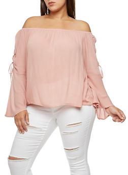 Plus Size Lace Up Bell Sleeve Off the Shoulder Top - 3803054269830