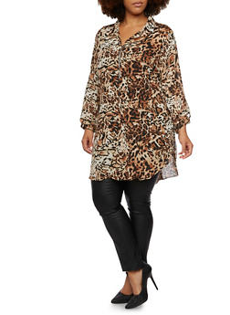 Plus Size Leopard Print Tunic Top with Slit Sides - 3803056122501