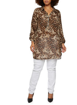 Plus Size Zip Neck Tunic Top with Leopard Print - 3803056122502
