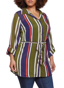 Plus Size Striped Tunic Top with Waist Tie Belt - 3803056122503