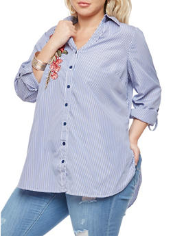 Plus Size Striped Button Front Top - 3803056122648