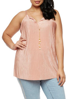 Plus Size Sleeveless Pleated Top with Detachable Necklace - 3803056122668