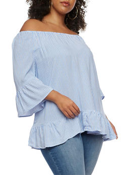 Plus Size Off the Shoulder Striped Top with Flounce Hem - 3803056122681