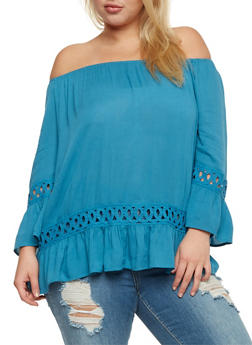 Plus Size Off the Shoulder Peasant Top with Crochet Inserts - 3803056122895