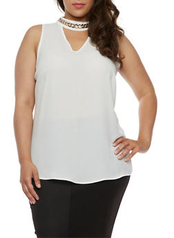 Plus Size Keyhole Choker Tunic Top - WHITE - 3803056122938