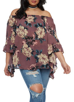 Plus Size Floral Print off the Shoulder Top with Tiered Sleeves - 3803056122960