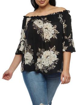 Plus Size Off the Shoulder Floral Gauze Knit Top - 3803056122961