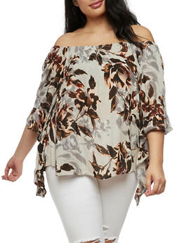Plus Size Off the Shoulder Floral Top with Tiered Sleeves - 3803056122962