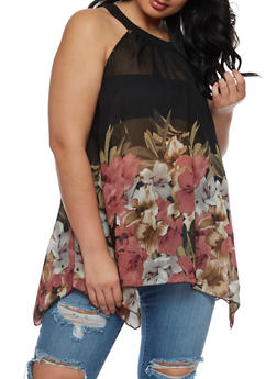 Plus Size Sleeveless Floral Border Print Top - 3803056122963