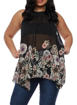 Plus Size Floral Asymmetrical Top - 3803056122964