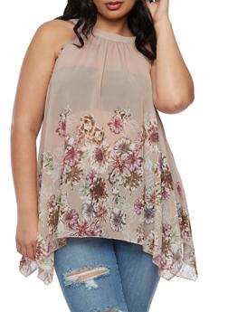 Plus Size Floral Asymmetrical Top - 3803056122964