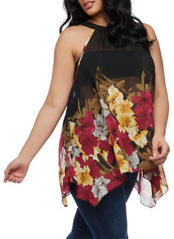 Plus Size Floral Asymmetrical Top - 3803056122965