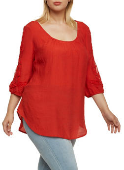 Plus Size Scoop Neck Top with Crochet Accents - 3803056123704