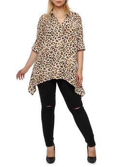 Plus Size Button Front Leopard Print Top with Sharkbite Hem - 3803056125408