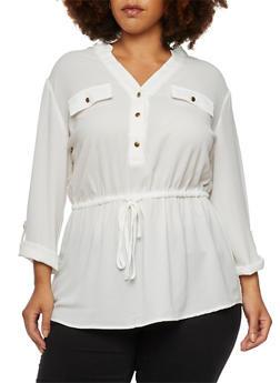 Plus Size Mandarin Collar Top with Drawstring Waist - IVORY - 3803056125437