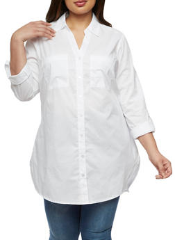Plus Size Long Sleeve Button Front Top - 3803056125906