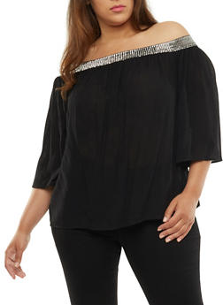 Plus Size Off the Shoulder Metallic Trim Peasant Top - 3803056126413