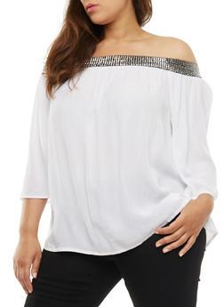 Plus Size Off the Shoulder Metallic Trim Peasant Top - WHITE - 3803056126413