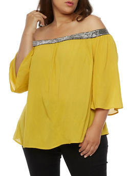 Plus Size Off the Shoulder Metallic Trim Peasant Top - MUSTARD - 3803056126413